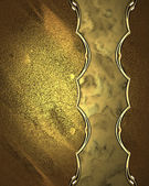 Beautiful golden background with gold plate with gold trim. Template for design — Stock Photo