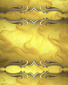 Design template. Abstract yellow background with gold ornaments gold trim. — Stock Photo