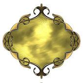 Šablona zlaté desky se zlatým zdobením — Stock fotografie