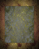 Abstract grunge gold texture with grey nameplate. — Stock Photo