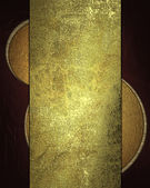Red background with gold grunge plate. Template design. — Stock Photo
