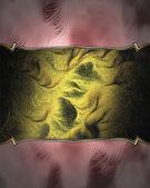 Růžové pozadí s elegantní tmavě zlatý proužek pro text. — Stock fotografie
