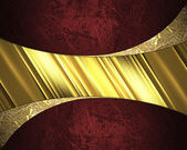 Elegant red background with yellow plate. Design element. Template design — Photo