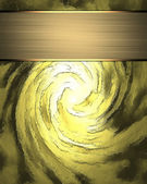 Spiral gold background with a gold plate. Design template — Стоковое фото