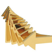 Golden arrows going up - success concept illustration — Stock Photo