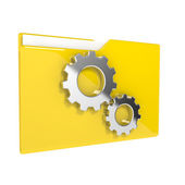 3d illustration of folder icon with gear wheel — Stock Photo