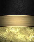 Tasarım şablonu. Altın şerit ile arka plan siyah ve altın — Stok fotoğraf