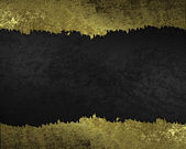 Black background with gold torn edges. Design template. — Stock Photo