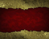 Red background with gold torn edges. Design template. — Stock Photo