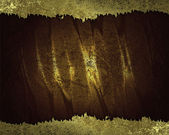 Brown background with gold torn edges. Design template. — Stock Photo