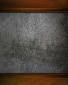 Background made ​​of concrete with wooden edges. design template — Stock Photo