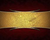 Red background with a gold sign with gold trim — Stock Photo