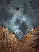 Tekstura niebieski nieczysty miedź krawędzi i złote wykończenia — Zdjęcie stockowe