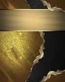 Grunge gold background with black cutout and ribbon — Stock Photo