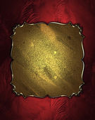 Beautiful red background with antique gold plate — Stock Photo