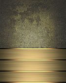 Grunge metal background with gold ribbon the edge — Stock Photo