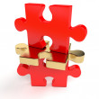 Stock Photo: Red jigsaw puzzle with outstanding golden piece - 3d render