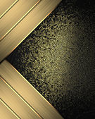 Black background with a worn gold, and with gold ribbons in the corners. — Stock Photo