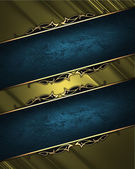 Gold rich texture with blue ribbon and gold pattern on the edges — Stock Photo