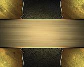 破旧黄金的质地,带有黄金角和金色图案的边缘上 — 图库照片