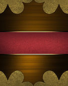 Abstract brown background with gold corners with red plate — Stock Photo