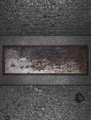 Grunge metal texture with a rusty sign. Design template — Stock Photo