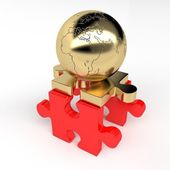 Puzzles and golden ball lands — Stock Photo