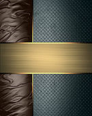 Grunge blue background with Abstract brown edges and gold ribbon — Stock Photo