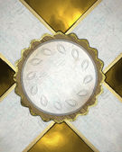 Gold background with white ribbons and a circle in the middle — Stock Photo