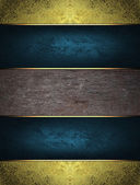 Gold grunge background with blue ribbons. — Stock Photo