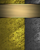 Gold background with grunge rusty metal edges and gold plate. — Stock Photo