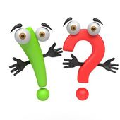 3d cartoon question mark and exclamation point — Stock Photo
