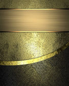 Grunge gold background with black edge and gold ribbon. — Stock Photo