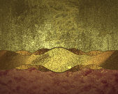 Grunge gold background with gold ribbon and red edge — Stock Photo