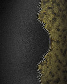 Black background with dark gold edge with gold trim — Stock Photo