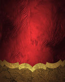 Abstract red grunge background with gold edge — Stock Photo