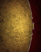 Grunge gold background with red edge with gold trim — Stock Photo
