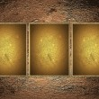 Copper background with three gold plates. Design template — Stock Photo