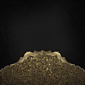 Black Background with gold dust edges with gold trim. — Stock Photo