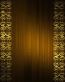 Brown background with gold patterns on the edges. Design template — Stock Photo