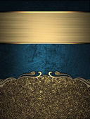 Blue texture with gold sand nameplate and gold trim — Stock Photo