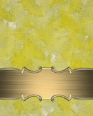 Yellow texture with gold sign and gold trim — Stock Photo