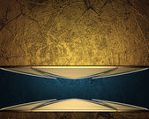 Gold background with a blue stripe with gold trim. Design element. Template for website — Stockfoto