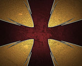 Design template - Yellow texture with a cross Red and gold trim — Stock Photo