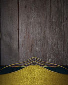 Wooden background with gold edge and gold trim. — Stock Photo