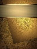 Background with gold plates and gold ribbon. — Stock Photo
