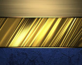 Blue texture with gold edged ribbons — Stock Photo