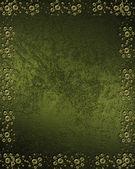 有金色图案的垃圾绿色背景 — 图库照片