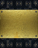 Abstract blue texture with grunge gold plate. Design template — 图库照片