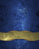 Abstract blue texture with scuffed and gold plate — Stockfoto